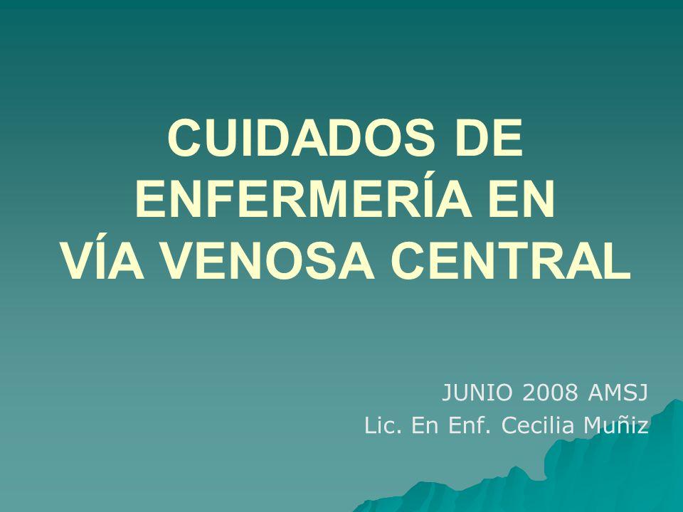 CUIDADOS DE ENFERMERÍA EN VÍA VENOSA CENTRAL