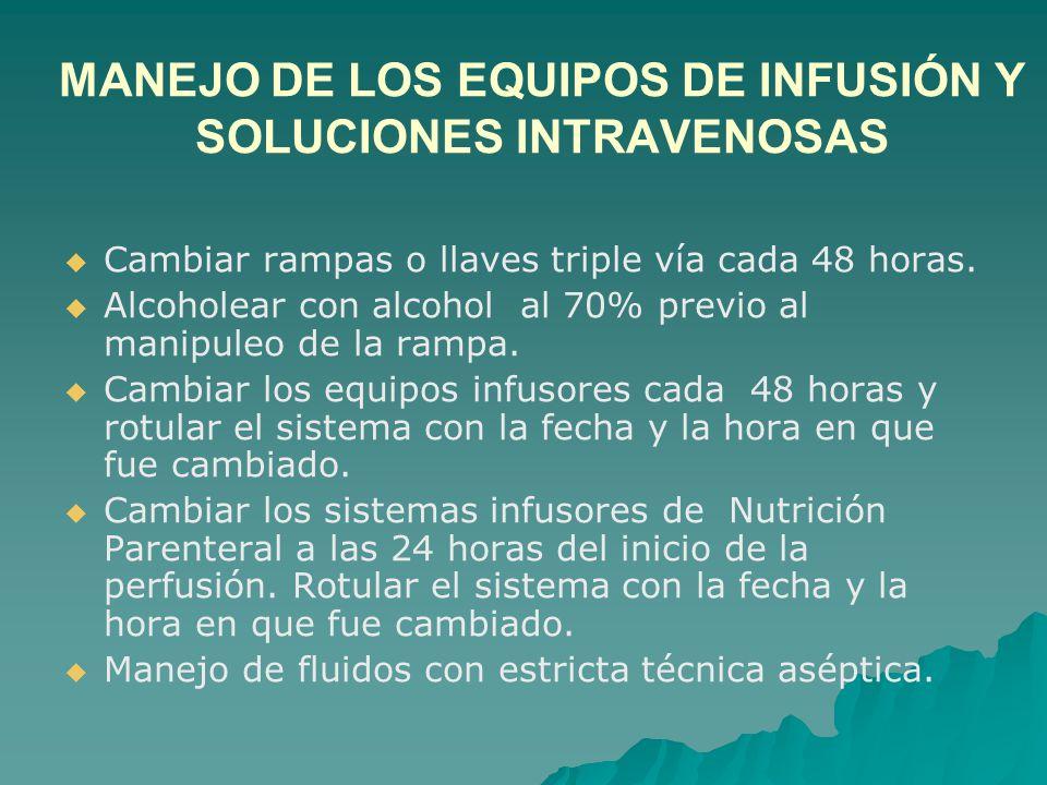 MANEJO DE LOS EQUIPOS DE INFUSIÓN Y SOLUCIONES INTRAVENOSAS