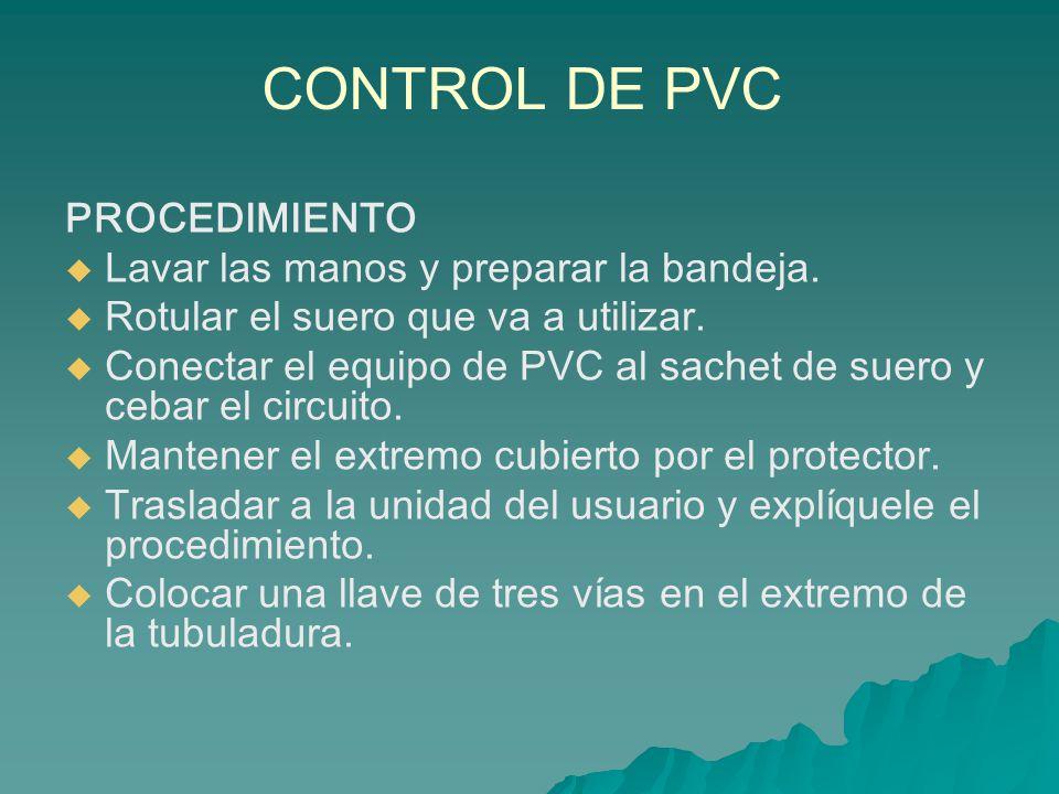 CONTROL DE PVC PROCEDIMIENTO Lavar las manos y preparar la bandeja.