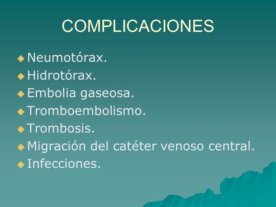 COMPLICACIONES Neumotórax. Hidrotórax. Embolia gaseosa.