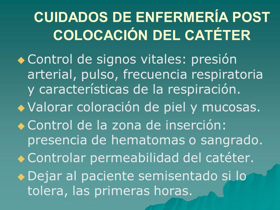 CUIDADOS DE ENFERMERÍA POST COLOCACIÓN DEL CATÉTER