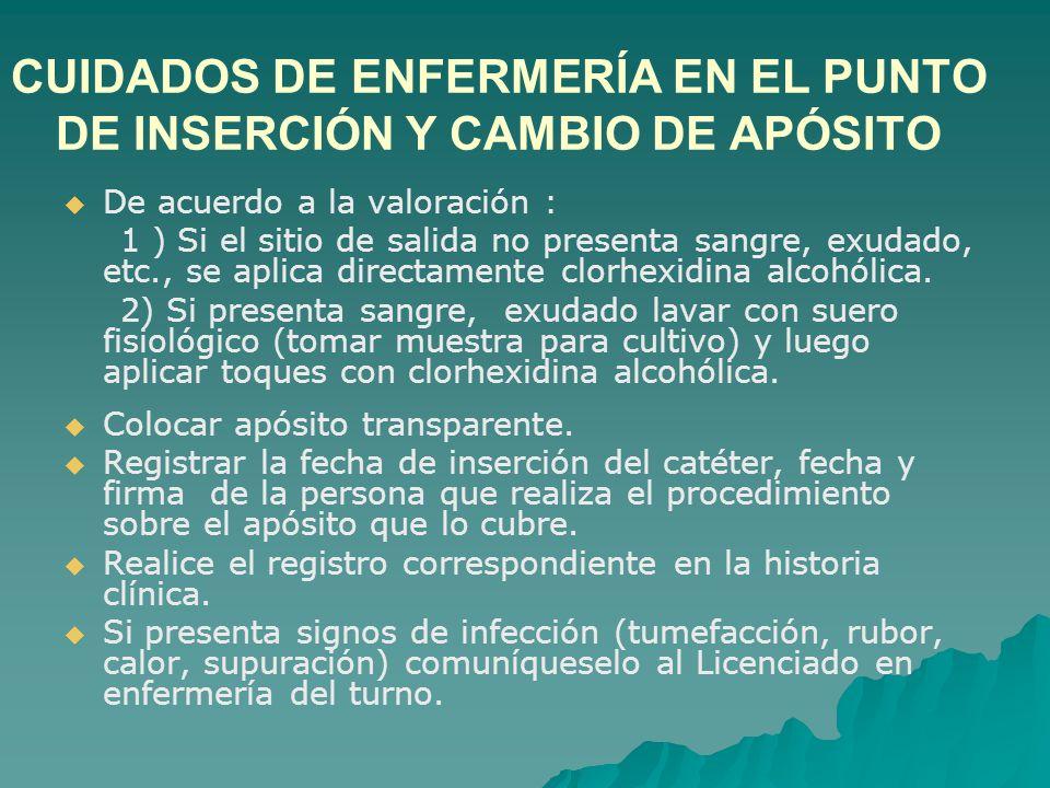 CUIDADOS DE ENFERMERÍA EN EL PUNTO DE INSERCIÓN Y CAMBIO DE APÓSITO
