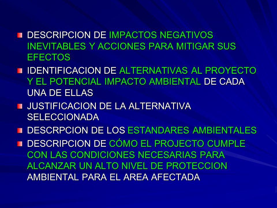 DESCRIPCION DE IMPACTOS NEGATIVOS INEVITABLES Y ACCIONES PARA MITIGAR SUS EFECTOS
