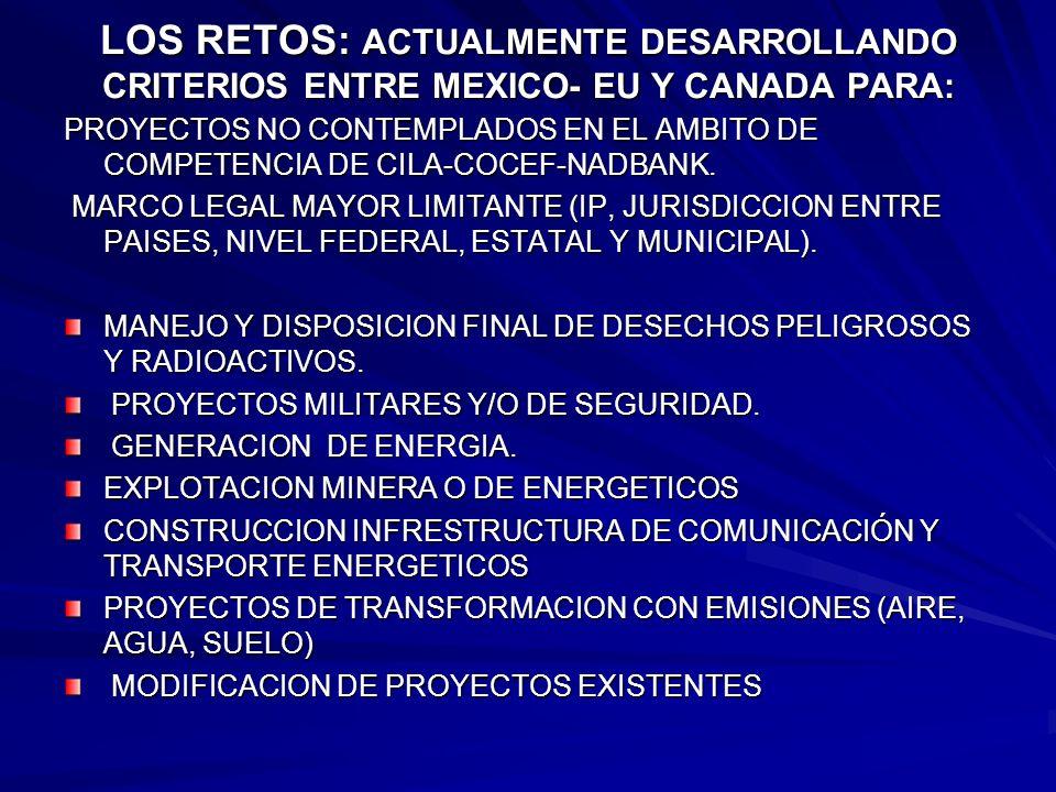 LOS RETOS: ACTUALMENTE DESARROLLANDO CRITERIOS ENTRE MEXICO- EU Y CANADA PARA: