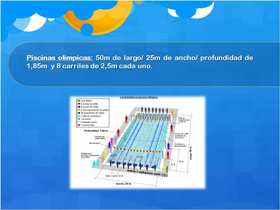 Piscinas olímpicas: 50m de largo/ 25m de ancho/ profundidad de 1,85m y 8 carriles de 2,5m cada uno.