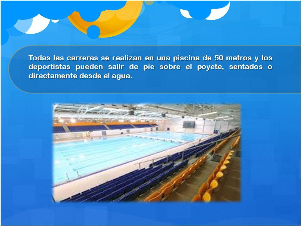 Todas las carreras se realizan en una piscina de 50 metros y los deportistas pueden salir de pie sobre el poyete, sentados o directamente desde el agua.