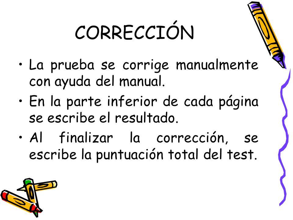 CORRECCIÓN La prueba se corrige manualmente con ayuda del manual.
