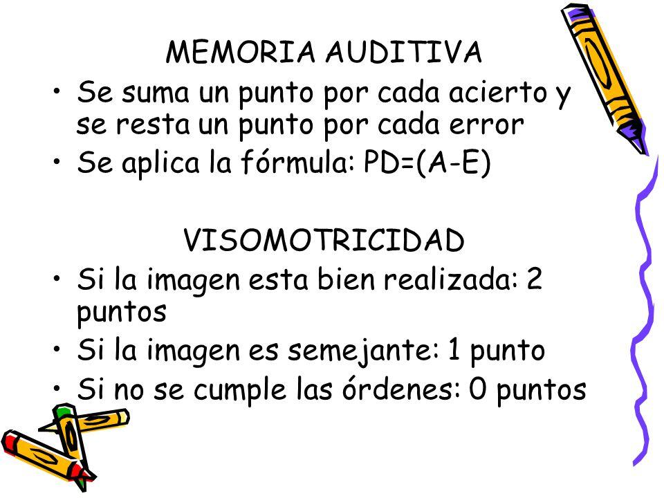 MEMORIA AUDITIVA Se suma un punto por cada acierto y se resta un punto por cada error. Se aplica la fórmula: PD=(A-E)