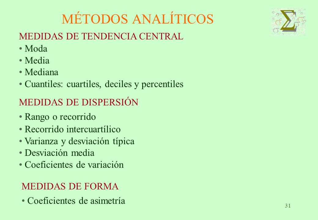 MÉTODOS ANALÍTICOS MEDIDAS DE TENDENCIA CENTRAL Moda Media Mediana