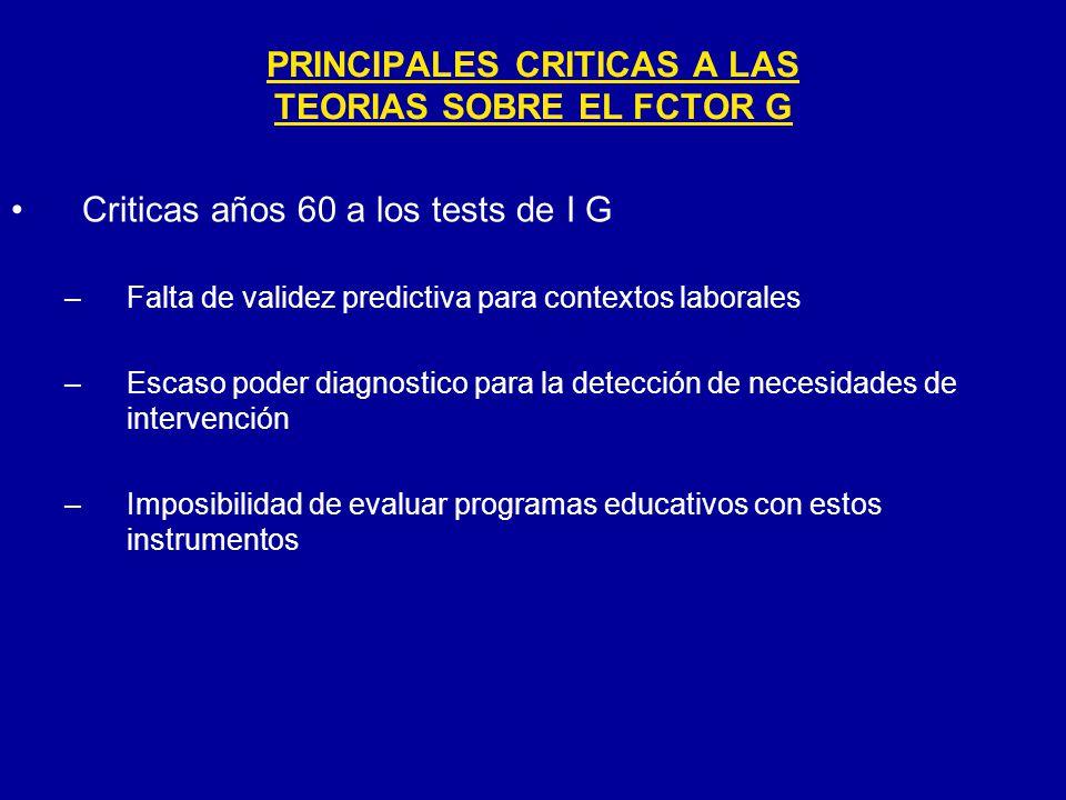 PRINCIPALES CRITICAS A LAS TEORIAS SOBRE EL FCTOR G