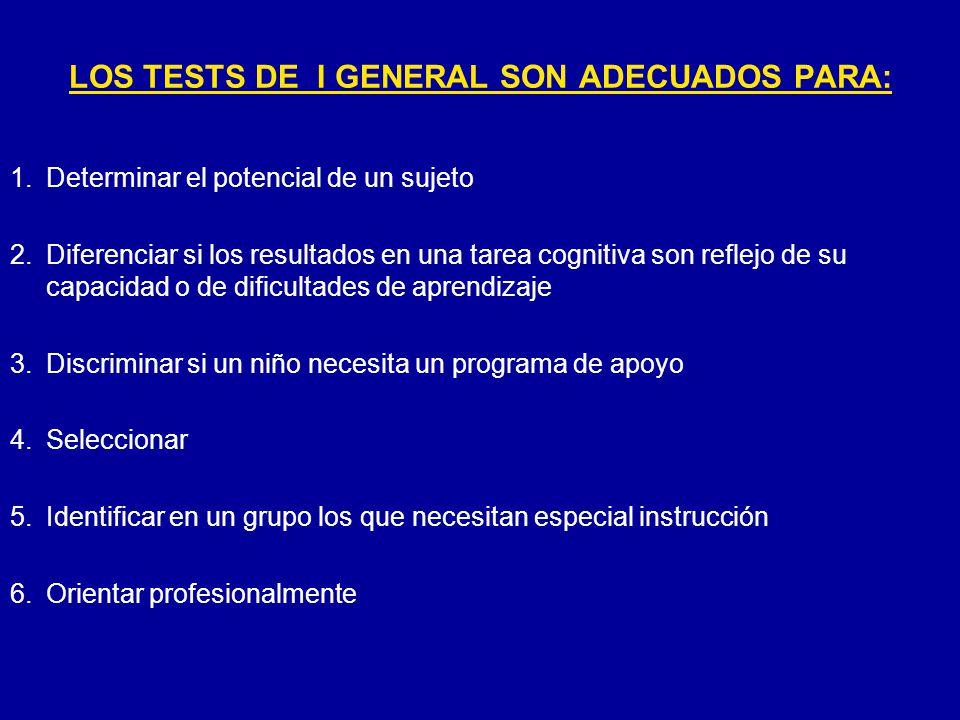 LOS TESTS DE I GENERAL SON ADECUADOS PARA: