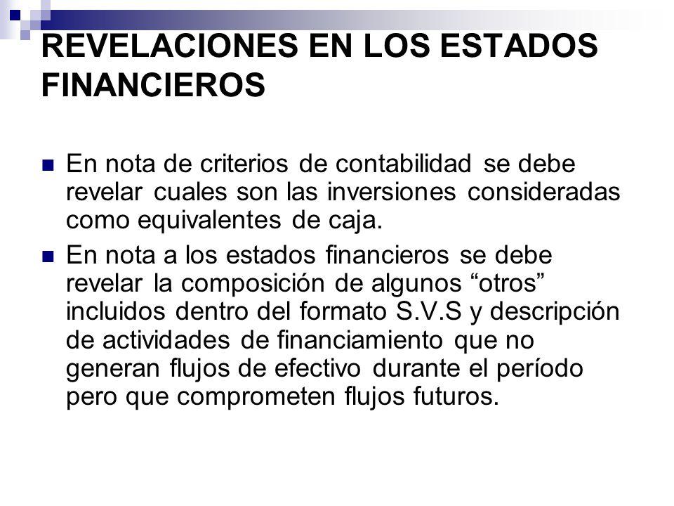 REVELACIONES EN LOS ESTADOS FINANCIEROS