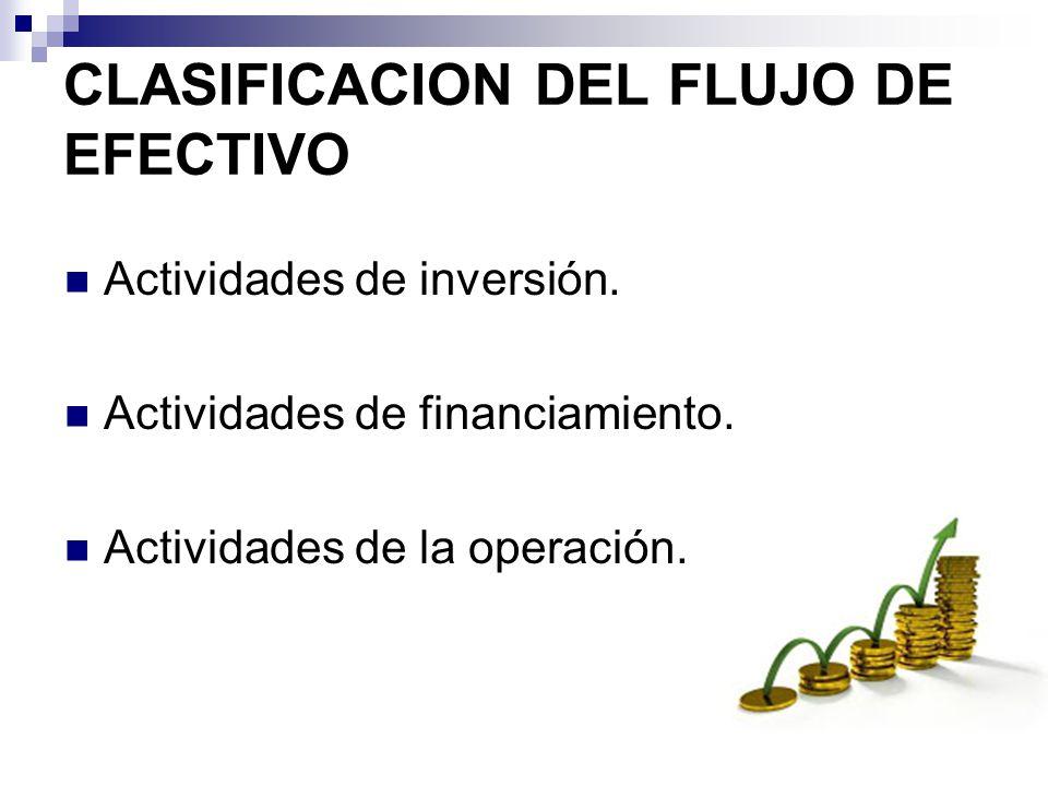 CLASIFICACION DEL FLUJO DE EFECTIVO