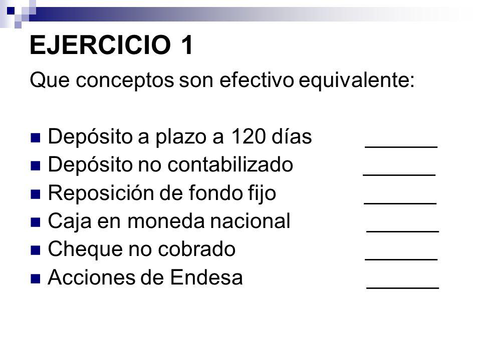 EJERCICIO 1 Que conceptos son efectivo equivalente: