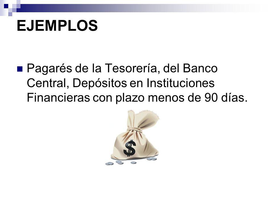 EJEMPLOS Pagarés de la Tesorería, del Banco Central, Depósitos en Instituciones Financieras con plazo menos de 90 días.