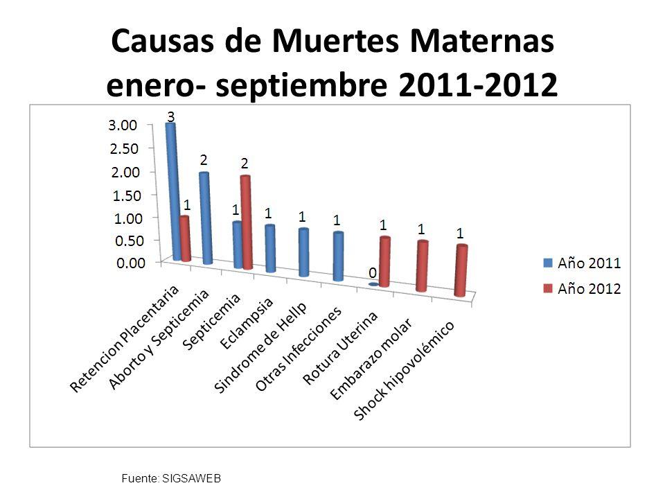 Causas de Muertes Maternas enero- septiembre 2011-2012