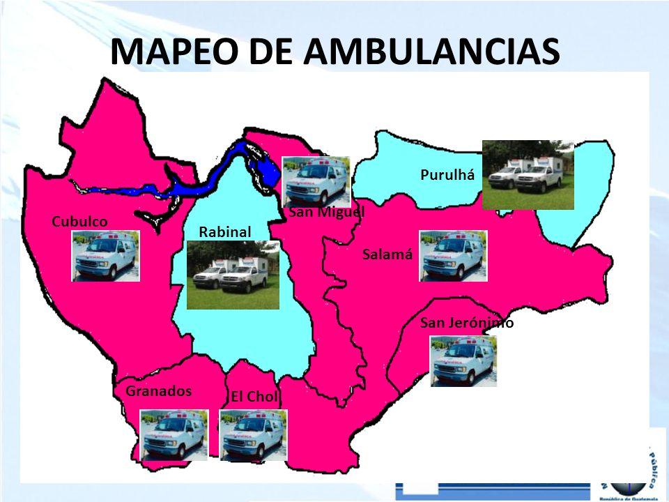 MAPEO DE AMBULANCIAS Purulhá San Miguel Cubulco Rabinal Salamá