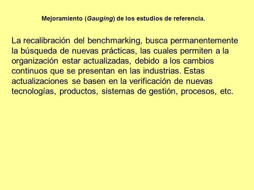 Mejoramiento (Gauging) de los estudios de referencia.