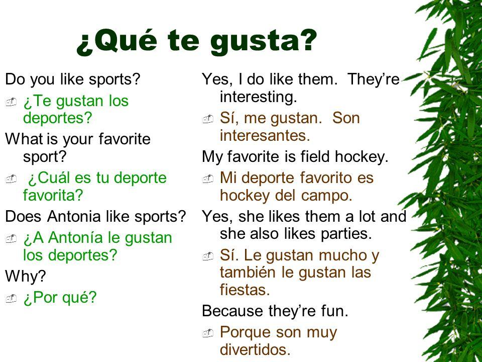 ¿Qué te gusta Do you like sports ¿Te gustan los deportes