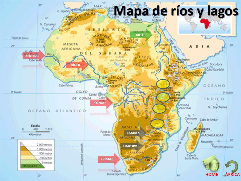 Mapa de ríos y lagos HOME ÁFRICA