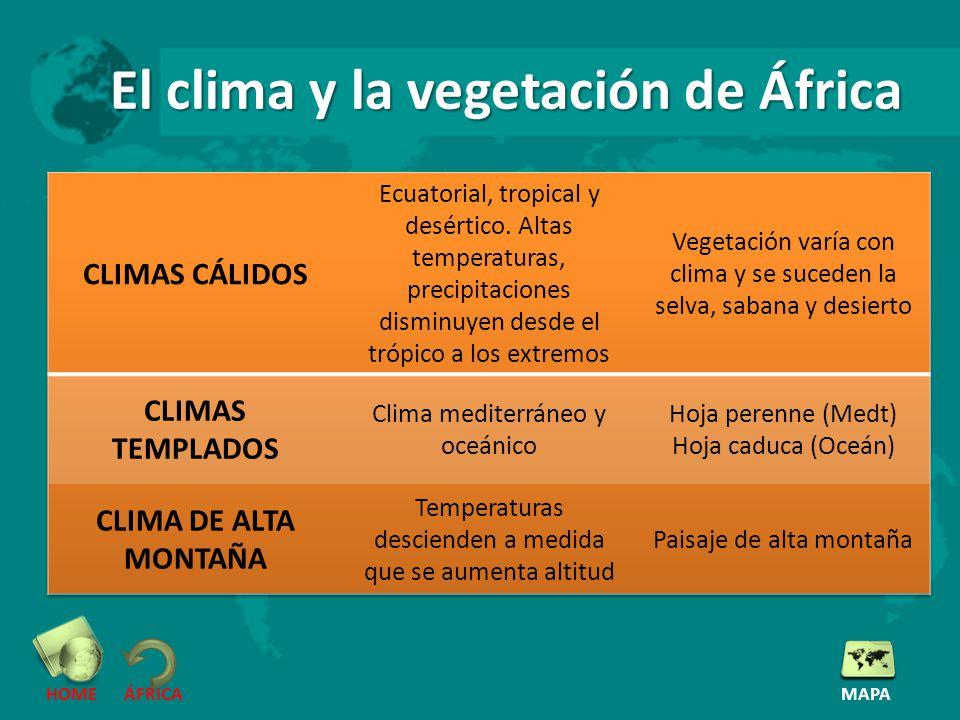 El clima y la vegetación de África