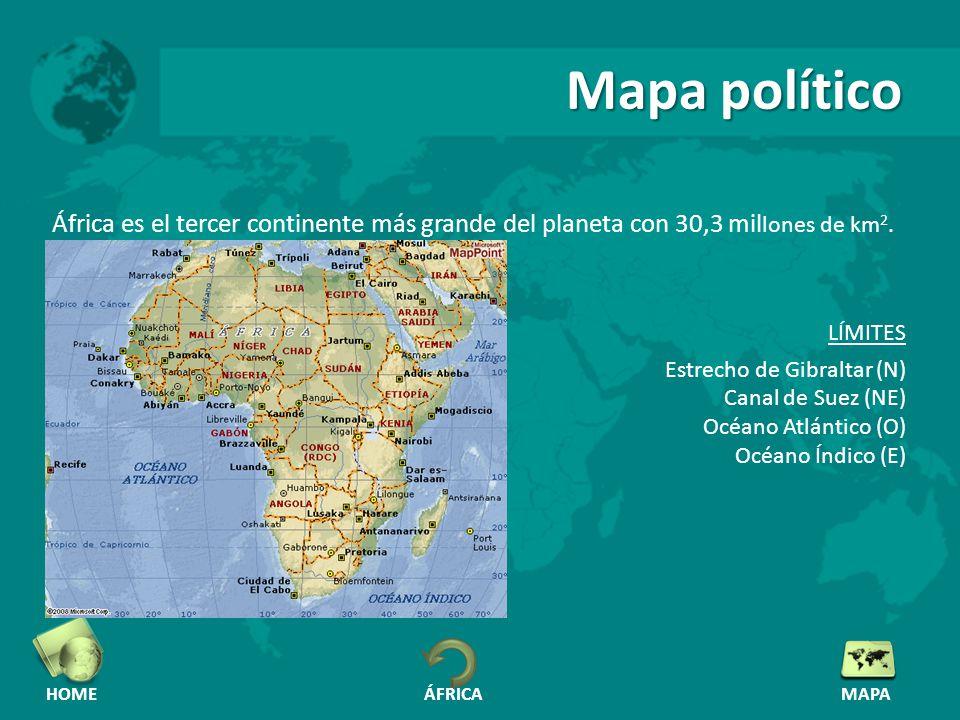 Mapa político África es el tercer continente más grande del planeta con 30,3 millones de km2. LÍMITES.