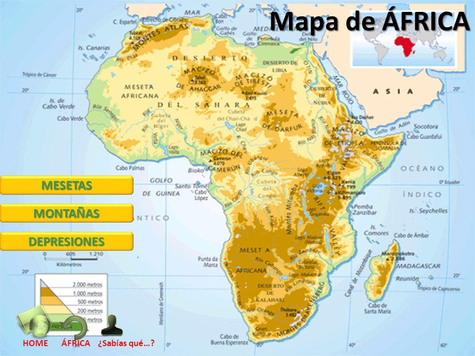 Mapa de ÁFRICA MESETAS MONTAÑAS DEPRESIONES HOME ÁFRICA ¿Sabías qué…