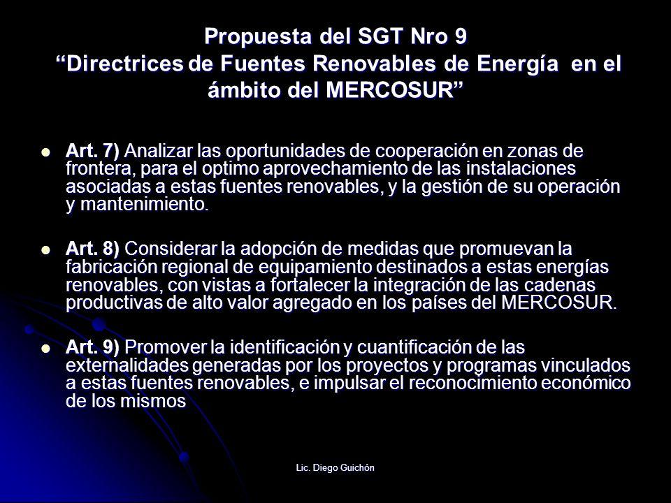 Propuesta del SGT Nro 9 Directrices de Fuentes Renovables de Energía en el ámbito del MERCOSUR