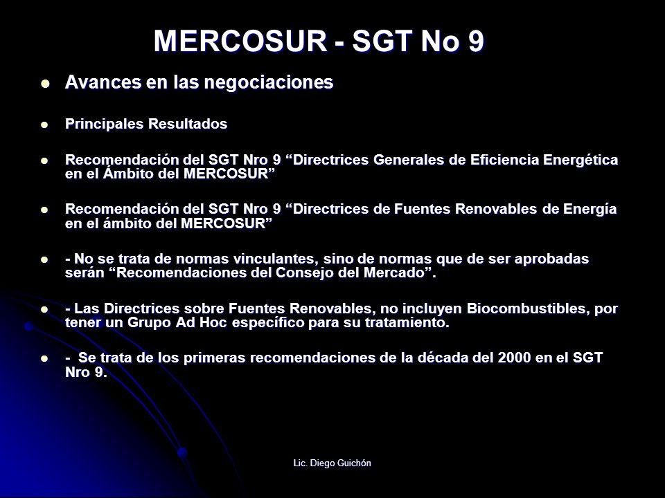 MERCOSUR - SGT No 9 Avances en las negociaciones