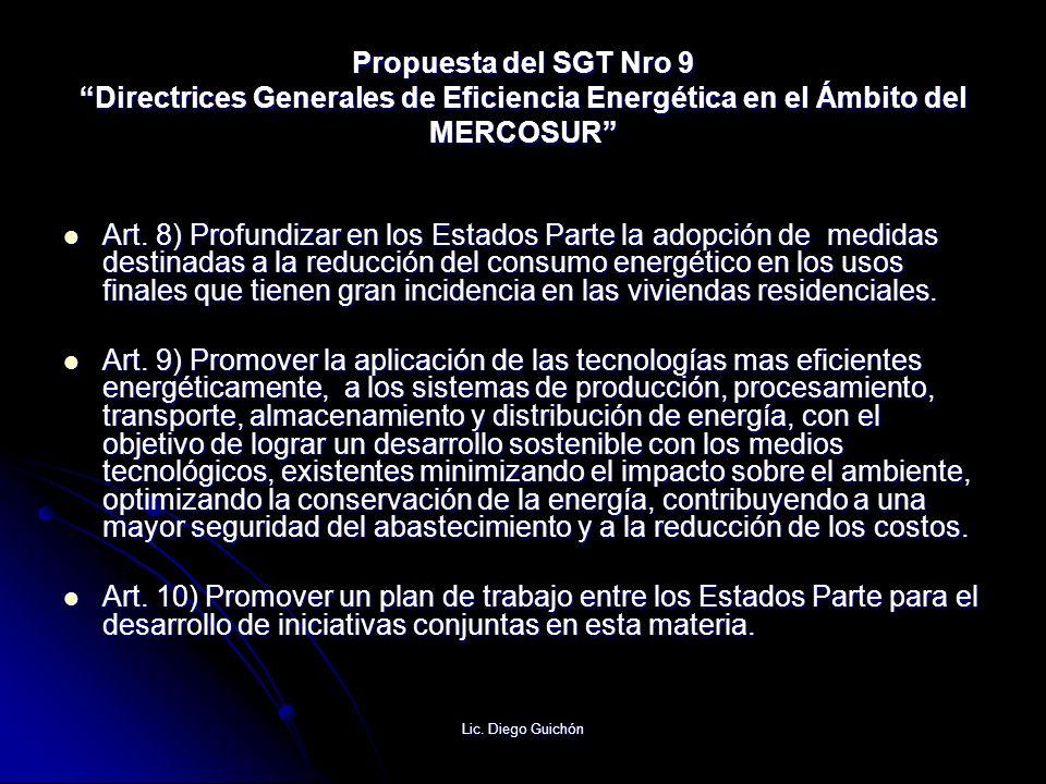 Propuesta del SGT Nro 9 Directrices Generales de Eficiencia Energética en el Ámbito del MERCOSUR
