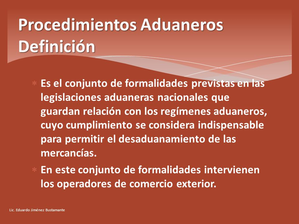 Procedimientos aduaneros i ppt video online descargar for Definicion exterior