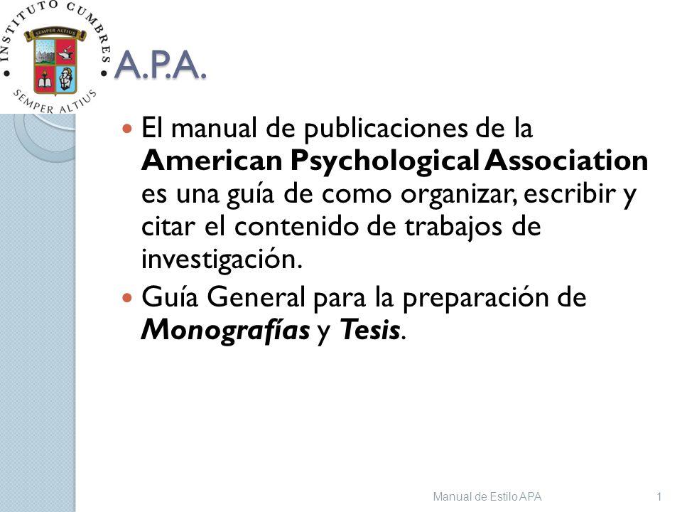 Manual De Estilo Apa 13 04 2017 A P A