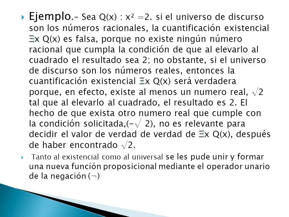 Ejemplo.- Sea Q(x) : x² =2. si el universo de discurso son los números racionales, la cuantificación existencial Ξx Q(x) es falsa, porque no existe ningún número racional que cumpla la condición de que al elevarlo al cuadrado el resultado sea 2; no obstante, si el universo de discurso son los números reales, entonces la cuantificación existencial Ξx Q(x) será verdadera porque, en efecto, existe al menos un numero real, √2 tal que al elevarlo al cuadrado, el resultado es 2. El hecho de que exista otro numero real que cumple con la condición solicitada,(-√ 2), no es relevante para decidir el valor de verdad de verdad de Ξx Q(x), después de haber encontrado √2.
