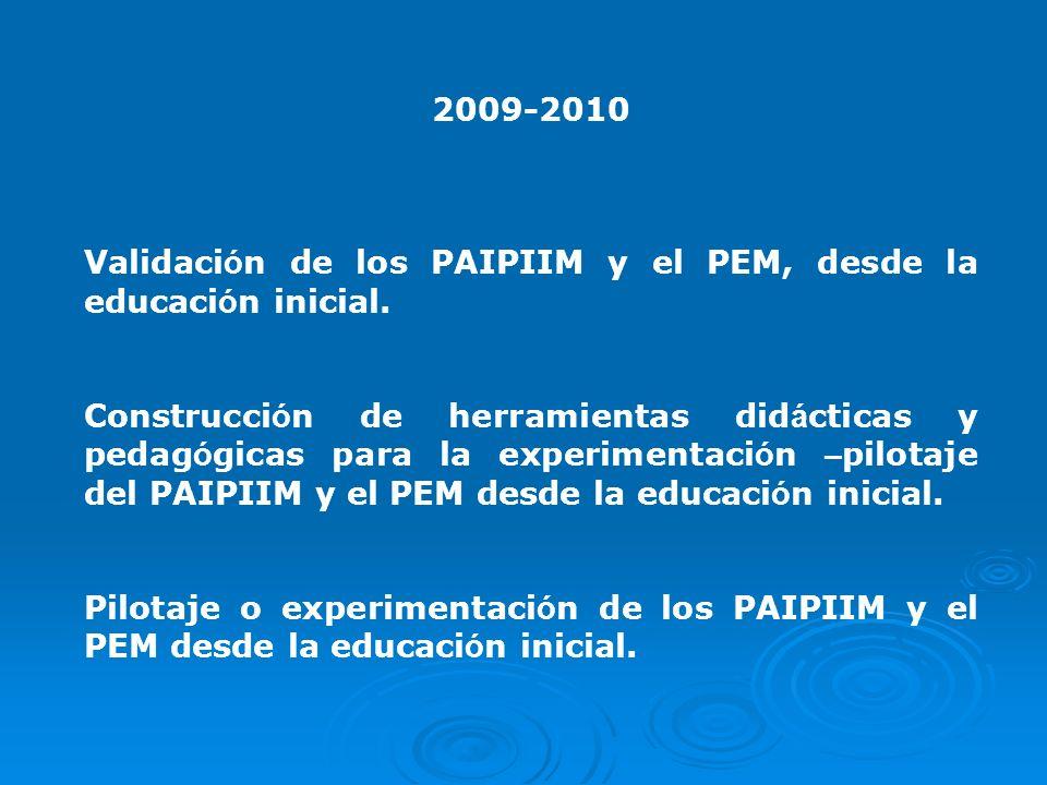 2009-2010 Validación de los PAIPIIM y el PEM, desde la educación inicial.