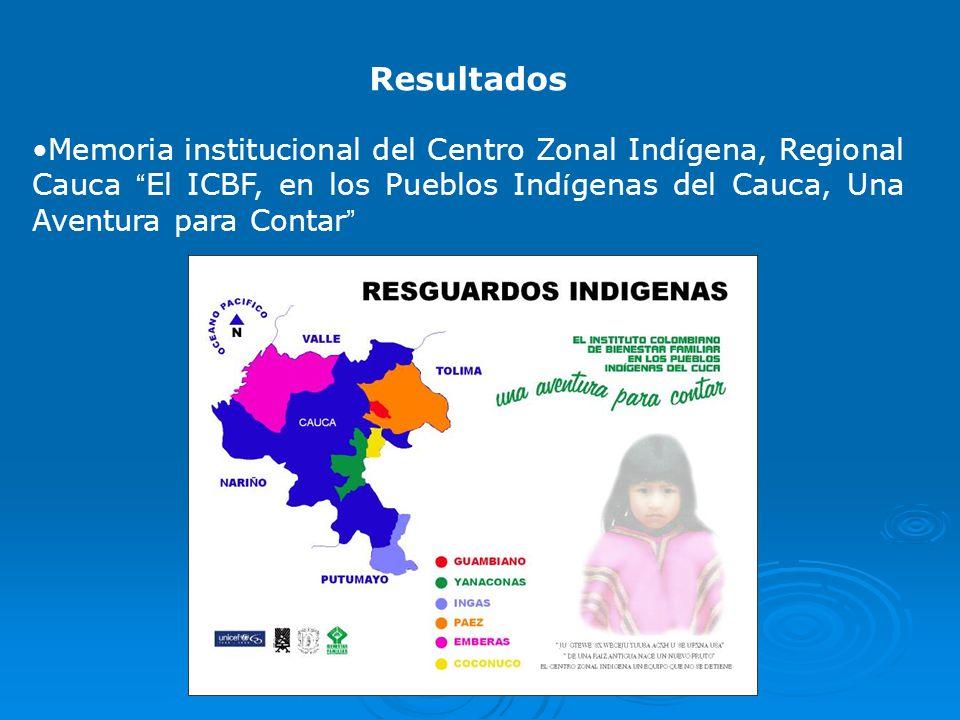 Resultados Memoria institucional del Centro Zonal Indígena, Regional Cauca El ICBF, en los Pueblos Indígenas del Cauca, Una Aventura para Contar
