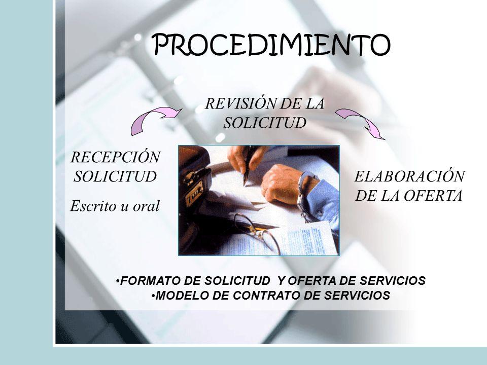 PROCEDIMIENTO REVISIÓN DE LA SOLICITUD RECEPCIÓN SOLICITUD