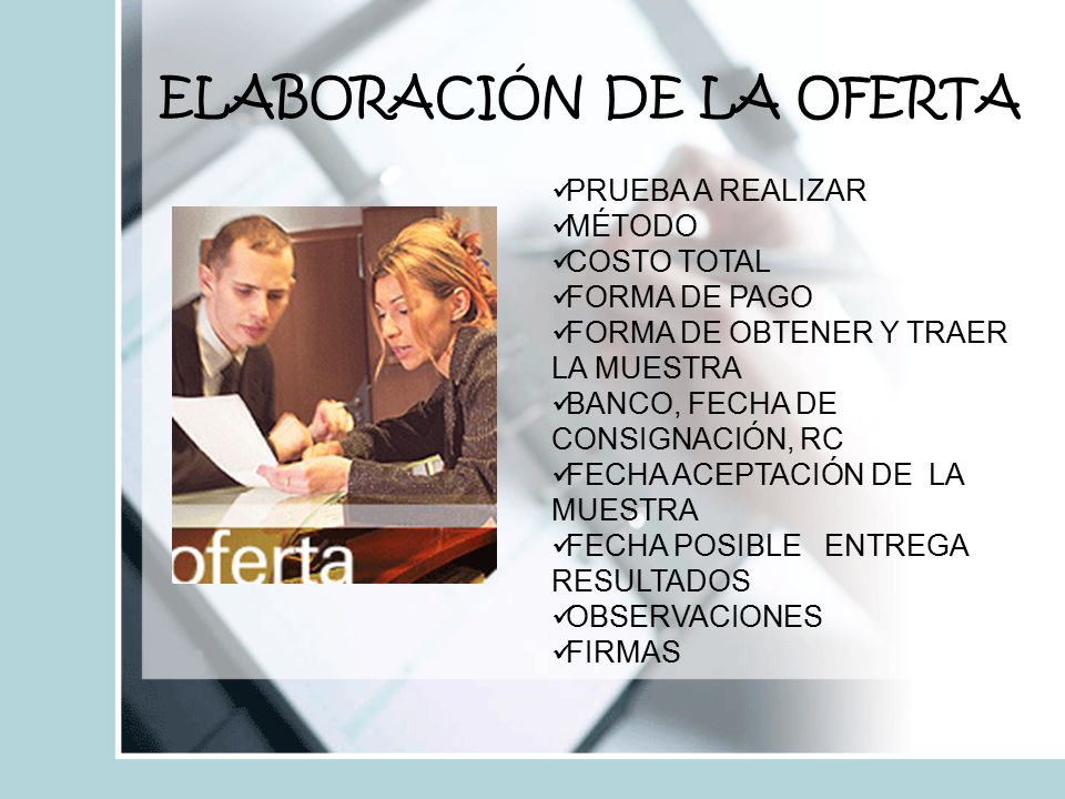 ELABORACIÓN DE LA OFERTA