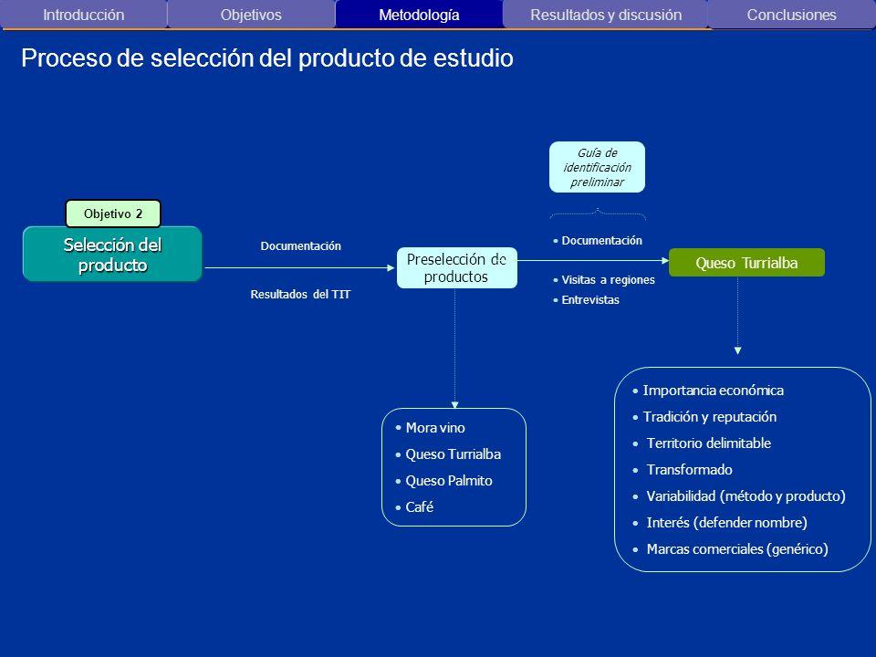 Proceso de selección del producto de estudio