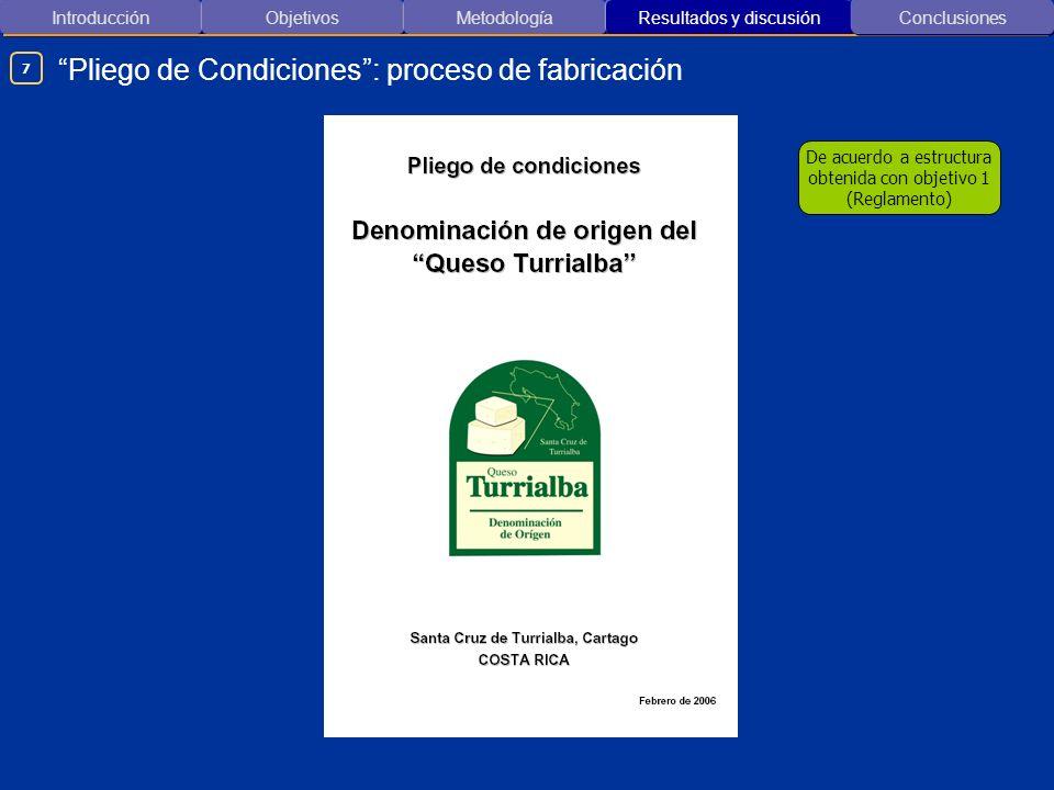 Pliego de Condiciones : proceso de fabricación