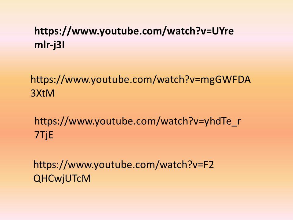 https://www.youtube.com/watch v=UYremlr-j3I https://www.youtube.com/watch v=mgGWFDA3XtM. https://www.youtube.com/watch v=yhdTe_r7TjE.
