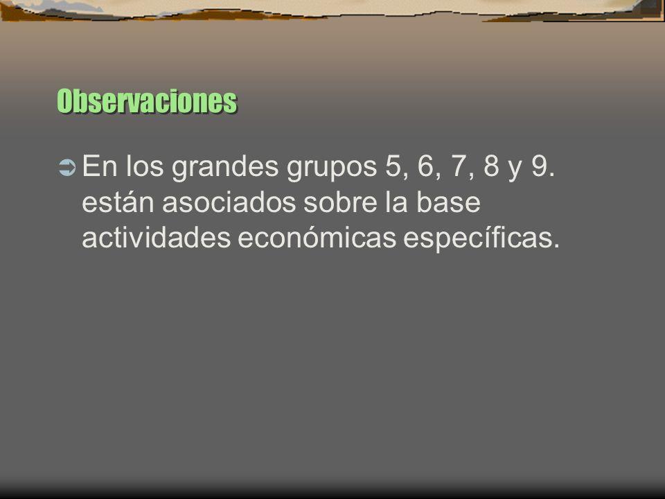 Observaciones En los grandes grupos 5, 6, 7, 8 y 9.