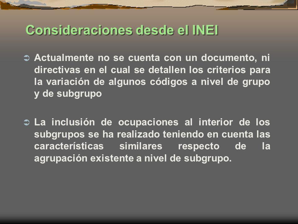 Consideraciones desde el INEI