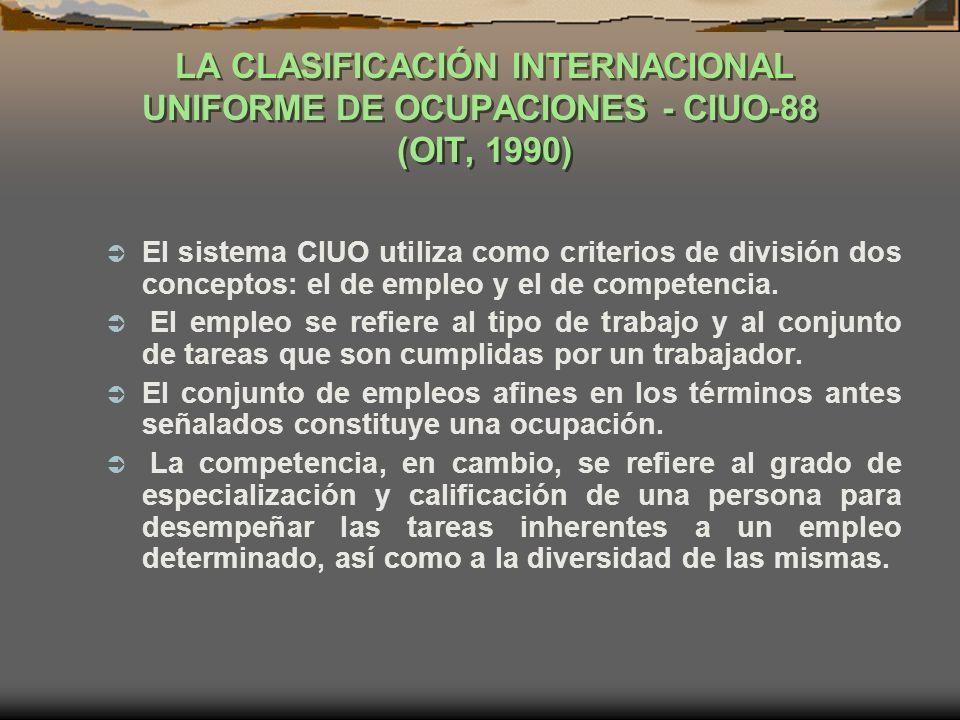 LA CLASIFICACIÓN INTERNACIONAL UNIFORME DE OCUPACIONES - CIUO-88 (OIT, 1990)
