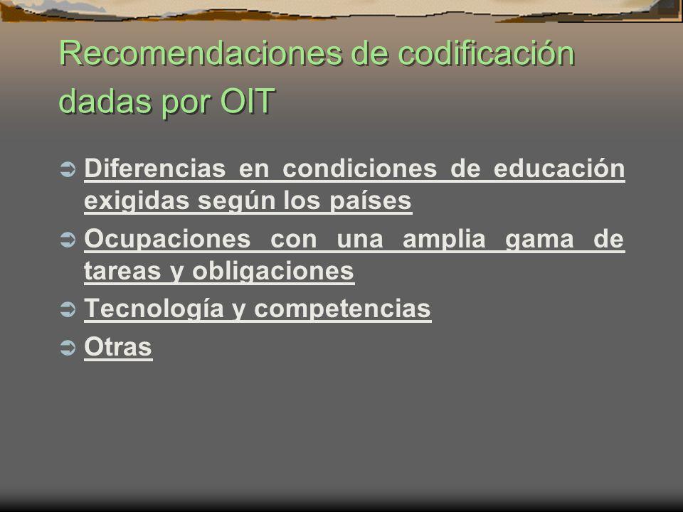 Recomendaciones de codificación dadas por OIT