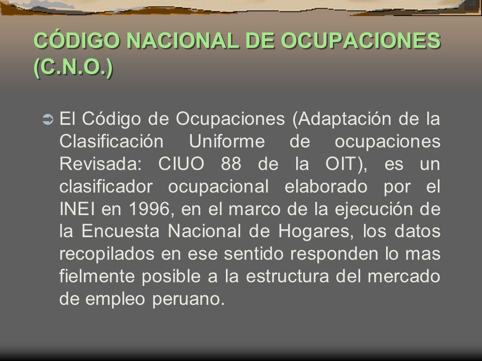 CÓDIGO NACIONAL DE OCUPACIONES (C.N.O.)