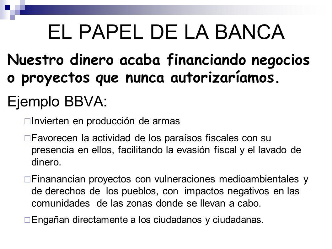 EL PAPEL DE LA BANCA Nuestro dinero acaba financiando negocios o proyectos que nunca autorizaríamos.