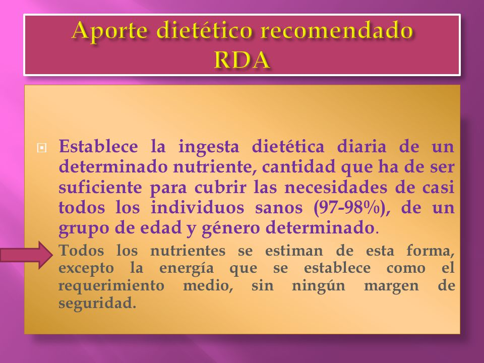 Aporte dietético recomendado RDA
