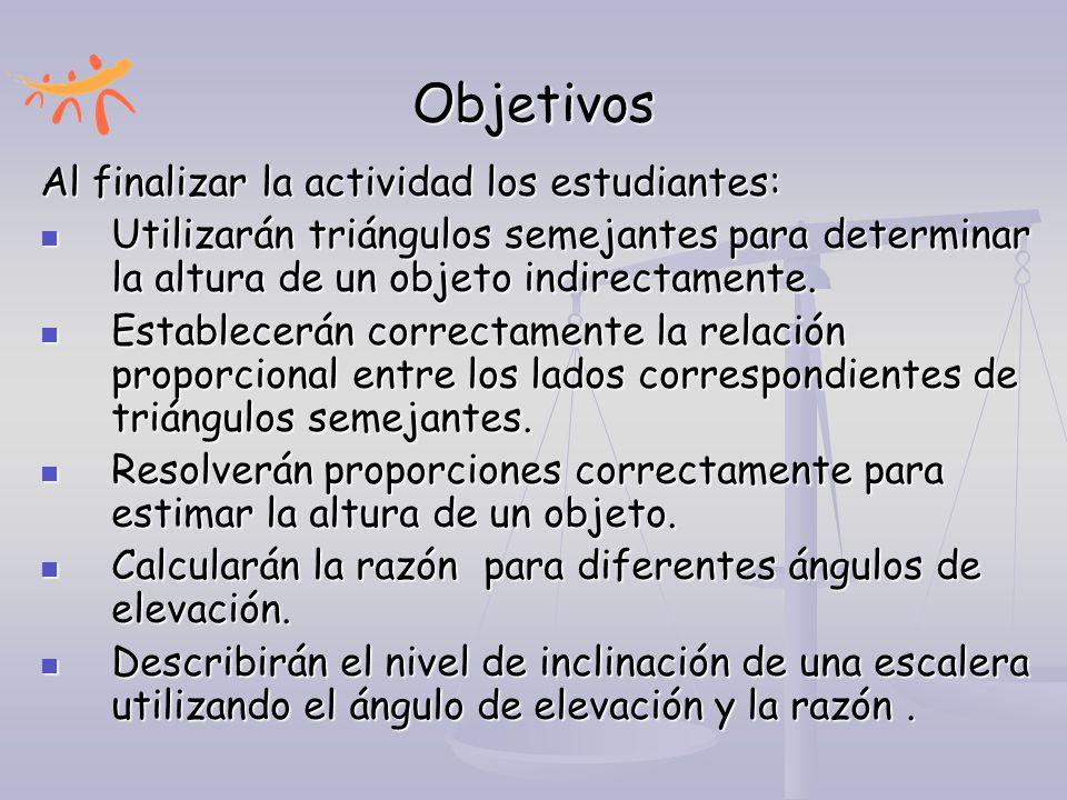 Objetivos Al finalizar la actividad los estudiantes: