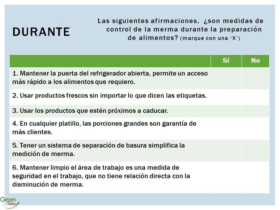 Las siguientes afirmaciones, ¿son medidas de control de la merma durante la preparación de alimentos (marque con una 'X')