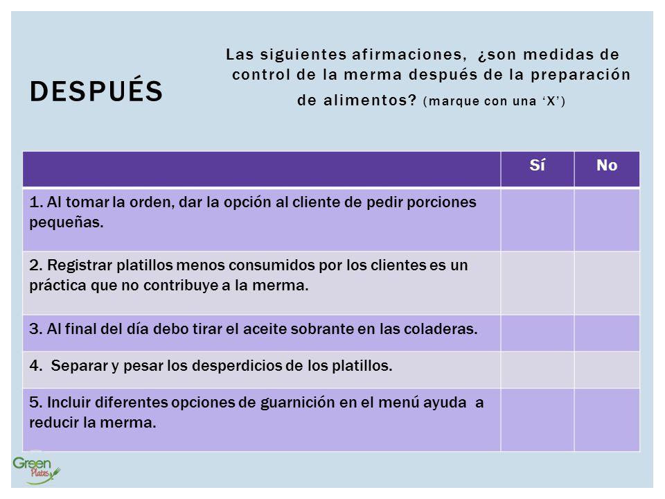 Las siguientes afirmaciones, ¿son medidas de control de la merma después de la preparación de alimentos (marque con una 'X')